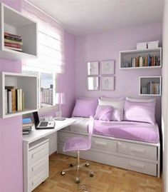 Could put bed in corner by window and use pics and floating shelves to denote area - then other part of was could be used for something else