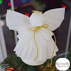 A Simple Coffee Filter Angel Christmas Tree Topper Craft for Kids to Make
