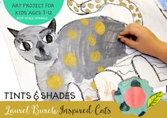 Kids create tints and shades to paint a Laurel Burch Inspired Cat Kids Art Class, Art Lessons For Kids, Art For Kids, Kid Art, Primary School Art, Elementary Art, Laurel Burch, Klimt, First Grade Art