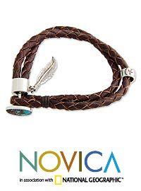 Turquoise & leather braided bracelet, 'Freedom' at The Breast Cancer Site