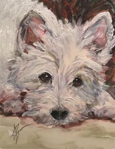 "Daily Paintworks - ""A young Westie waiting"" - Original Fine Art for Sale - © Annette Balesteri"
