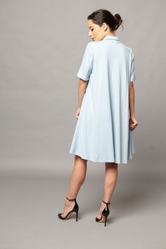 Back view of the new Tracy Nicole Clothing Baby Blue Swing Cocktail Dress www.tracynicoleclothing.com