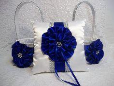 Royal Blue Bling Flower Girl Baskets and matching Satin Ring Bearer Pillow set, Royal Blue Satin Flowers, Bling Flower Girl Basket