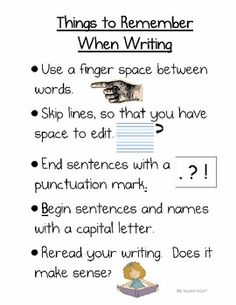 Place in their Writer's Workshop folder as a reminder or make as a poster at the WW station