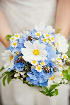 Blue Hydrangea, White/Yellow Daisies, White/Yellow Chamomile, Greenery Wedding Bouquet