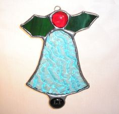 LT Stained glass Christmas bell turquoise by UniqueStainedGlass, $9.50
