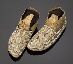 Cheyenne Beaded Hide Moccasins,