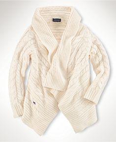 Ralph Lauren Kids Sweater, Little Girls Wrap Sweater - Kids Girls 2-6X - Macy's