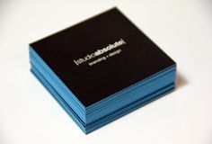 Square blue edge painted business cards printed by @oubly