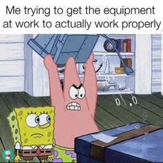 Now I just throw it in the broken cabinet & email the equipment team 😊 Pharmacy Humor, Medical Humor, Nurse Humor, Medical Laboratory, Work Memes, Work Humor, Work Funnies, Funny Nurse Quotes, Funny Memes