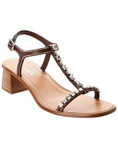 Prada Rhinestone T Strap Leather Sandal is on Rue. Shop it now.