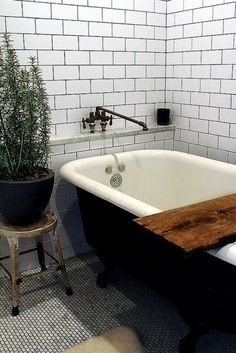subway tile with dark grout- organic elements