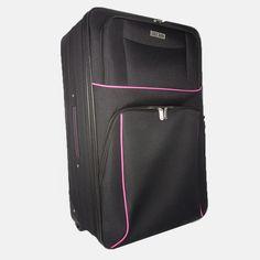 Kufor veľký látkový v čiernej farbe s ružovým lemom Backpacks, Bags, Fashion, Colors, Handbags, Moda, Fashion Styles, Backpack, Fashion Illustrations