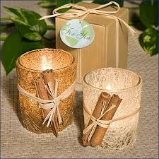 fall wedding ideas - Google Search. I would color the candles the color of the wedding theme. Then put the cinnamon on.