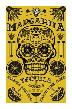 Poster Design Cocktail Poster Bar Art Kitchen Art Day of the Dead. $22.00, via Etsy.