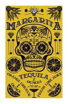 Poster Design Cocktail Poster Bar Art Kitchen Art Day of the Dead. $22.00, via Etsy.