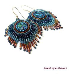 Peacock's feather bead embroidery earrings with by jewelrywithsoul