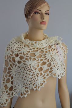 Sale 30%off Cream Crochet Lace Wedding Shawl by levintovich