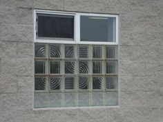 Commercial Window installed at Columbus Glass Block in Columbus, Ohio.  Glass Block with Slider window above.