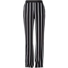 Emilio Pucci Striped Wide Leg Trousers ($593) ❤ liked on Polyvore featuring pants, bottoms, trousers, black, high-waist trousers, striped pants, high-waisted pants, wide-leg pants and high waisted wide leg trousers