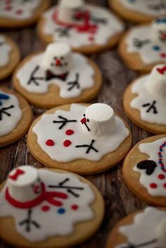 Snowman cookies. Take your creativity to the next level by adding snowman designs on your cookies. You can use a variety of food coloring to achieve the designs on the snowman toppings.