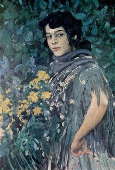 A Spanish Woman with a Bunch of Yellow Flowers. by Aleksandr Golovin (Russian 1863 – Spanish Woman, Black Sails, Classic Paintings, Impressionism Art, Art Station, Tempera, Russian Art, Figurative Art, Pattern Art