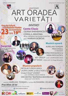 """Vinerea asta, adică 23 octombrie 2015, începînd de la ora 19, Casa de Cultură a Sindicatelor Oradea va fi gazda unui eveniment organizat de Şcoala de Arte """"Francisc Hubic"""" în colaborare cu Consiliul Judeţean Bihor."""