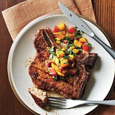 Pork Chops with Caribbean Rub and Mango Salsa_The smoky-spicy rub would also work well with grilled chicken