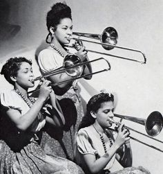 Trombone section of the International Sweethearts of Rhythm - (was the first integrated all women's band in the United States. During the the band featured some of the best female musicians of the day) - - - - - - - Partituras Trombone, Woman Singing, Jazz Musicians, Jazz Artists, New Bands, Tumblr, African American History, Black History, Black And White Photography