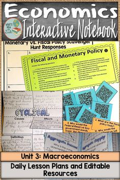 Macroeconomics is an important aspect of economics that needs to be thoroughly taught. This unit, which is really a complete interactive notebook, helps you teach macroeconomics concepts to your high school students! Parts of the interactive notebook materials are editable, and it comes with daily lesson plans and everything you need to teach this economics unit. Click through to learn more! #economics #macroeconomics #highschool #socialstudies #9thgrade #10thgrade #11thgrade #12thgrade Daily Lesson Plan, Lesson Plans, Block Scheduling, Federal Budget, Teacher Resources, Teaching Ideas, Social Studies Classroom, Secondary Teacher, School Subjects