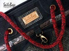 Sails Bags Lady's Bag Black & Red (Height 26cm X Base 19 X 19 cm X Zipper length : 41cm)