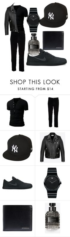 """""""Opposites contest.  male black"""" by shannongarner ❤ liked on Polyvore featuring Levi's, New Era, Yves Saint Laurent, NIKE, Movado, Burberry, Valentino, men's fashion and menswear"""