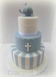 The baby elephant topper on this cake was based on one by Cake Avenue. It's so cute though with the little bird on top! Baby Boy Christening Cake, Baby Boy Baptism, Baptism Party, Christening Cake Toppers, Baptism Ideas, Baby Elefant, Cold Cake, Communion Cakes, Cakes For Boys