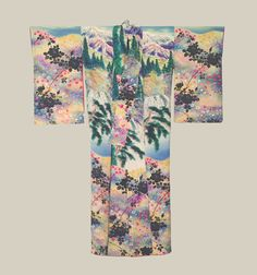 """Painted Kimono, Early Showa (1927-1940). An unusual silk kimono featuring landscape scenes that consist of preprinted black and white, with all the other colors laboriously handpainted.  49"""" from sleeve-end to sleeve-end x 57"""" height.  The Kimono Gallery"""