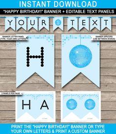 Banner Design Templates for Birthday (1) | PROFESSIONAL TEMPLATES Birthday Banner Template, Birthday Banner Design, Happy Birthday Banners, 70th Birthday, Free Printable Banner Letters, Templates Printable Free, Disco Party, Party Banner, Custom Banners