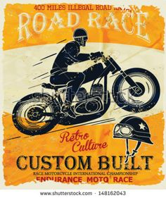 vintage race car and motorcycle for printing.vector old school race poster.retro race car or motorbike vector print set,race posters.real road race posters