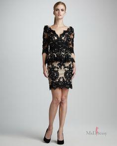 sheath column v neck lace short mini black zipper dress