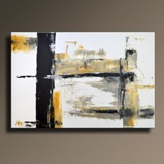 "48"" Large ORIGINAL ABSTRACT Yellow Gray Black White Painting on Canvas Contemporary Abstract  Modern Art wall decor - Unstretched"