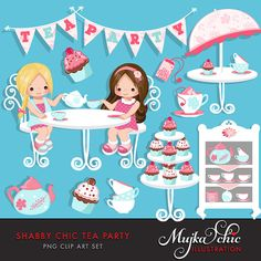 Shabby Chic Tea Party Clipart Instant Download Little by mujka