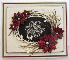card christmas poinsetta PartiCraft (Participate In Craft): Classic Poinsettia and Mosaic Poinsettia Die Cut Christmas Cards, Chrismas Cards, Christmas Card Crafts, Xmas Cards, Handmade Christmas, Holiday Cards, Christmas Projects, Christmas Time, Christmas Ideas
