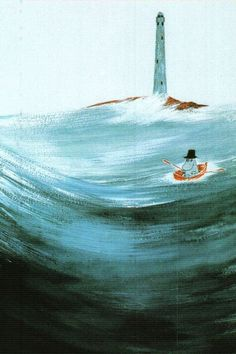 Tove Jansson - Moominpappa at Sea postcard via Kiosk Mamymuminka (Moomin PL) Tove Jansson, Les Moomins, Moomin Valley, Fanart, Children's Book Illustration, Troll, Louvre, Drawings, Artwork