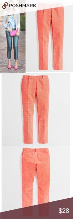 """J.CREW FACTORY DOT DOT  RASH SKIMMER PANTS Excellent condition. Size 2. Cotton. Sits just above hip. Fitted through hip and thigh, with a straight, cropped leg. Zip fly. Slant pockets. 26"""" inseam. Dry clean. Modeled pic is just for styling inspiration selling the orange ones J. Crew Pants"""