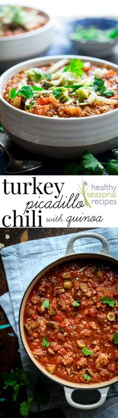 Turkey picadillo chili with quinoa with cumin, cinnamon and chili powder. It has olives and raisins, and a hearty dose of quinoa stands in for beans. 40 min | Healthy Seasonal Recipes #GlutenFree #Healthy #turkey #chili