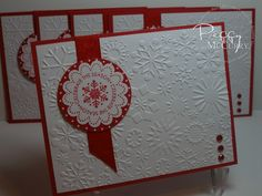 handmade Christmas card ...  red and white ... snowflake theme ... luv the snowflake embossing folder for background texture ... cute scallop with snowflake and sentiment in a circle ... clean and simple design ... Stampin' Up!