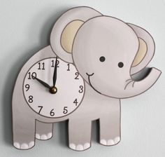 Cute for a baby's room -- Elephant Wooden WALL CLOCK for Kids Bedroom Baby Nursery. $45.00, via Etsy.