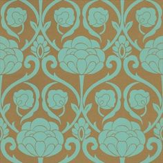 Oriana (25638) - Harlequin Wallpapers - A beautiful art nouveau inspired floral trellis using metallics to give a subtle light effect. Available in 8 colours. Shown here in duck egg blue on metallic gold. Please ask for sample for true colour match.
