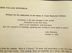Awesome quote written for the dedication of the library in 1892.