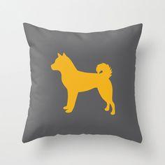 Shiba Inu Silhouette Throw Pillow : Solid Custom Colors