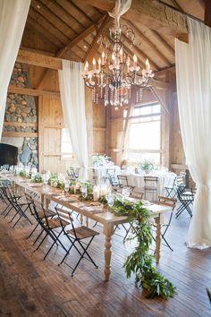 Rustic barn wedding tablescape: http://www.stylemepretty.com/2016/03/30/elegant-destination-outdoor-mountain-wedding/   Photography: Lane Dittoe - http://lanedittoe.com/