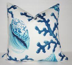 Conchiglia corallo blu pacifico cuscino stampa di HomeLiving
